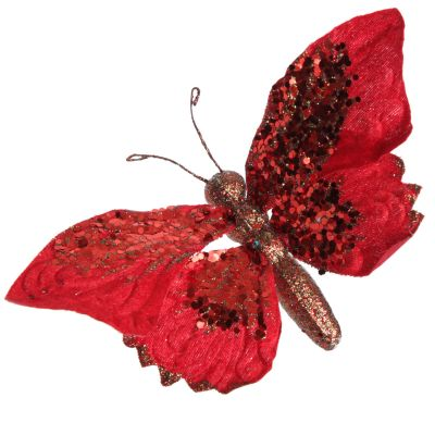 Red Butterfly Clip with Sequins