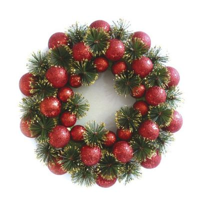 Red Christmas Bauble Wreath