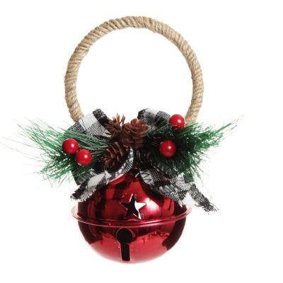 Red Christmas Bell Door Hanger with Buffalo Check Bow