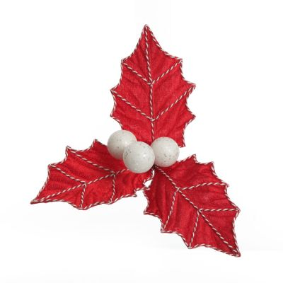 Red Christmas Holly Leaf Clip with Twine Trim