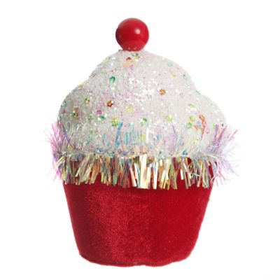 Red Cupcake with Frosting and Sprinkles Christmas Tree Decoration