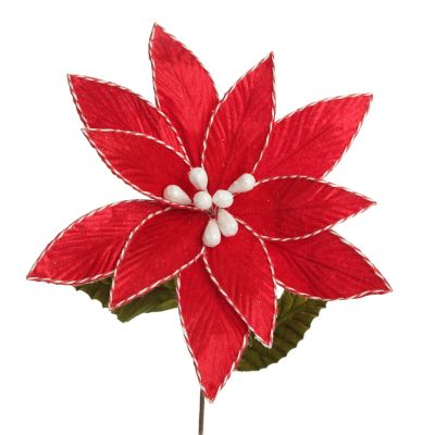 Red Embossed Flower with Red and White Trim