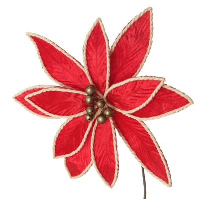 Red Embossed Flower with Rope Trim and Bells