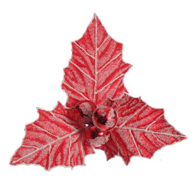 Red Frosted Christmas Holly Leaf Clip