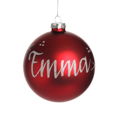 Red Glass Personalised Christmas Bauble Whole product