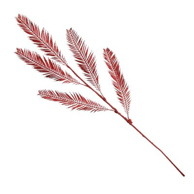 Red Glitter Feather Spray