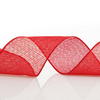 Red Christmas Ribbon Garland with Piped Striped Edge