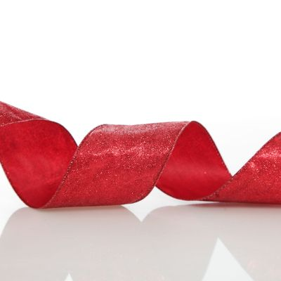 Red Glitter Wired Christmas RIbbon - 6.5cm