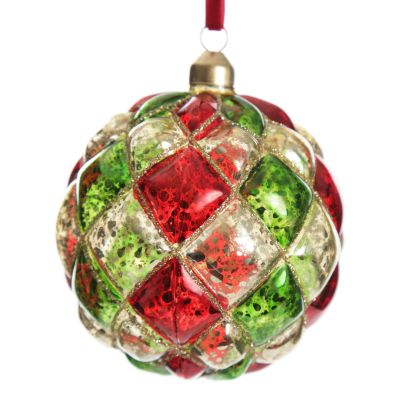 Red, Green and Gold Diamond Pressed Glass Christmas Bauble