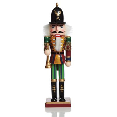 Red Jacket Nutcracker with Horn Christmas Ornament - Large