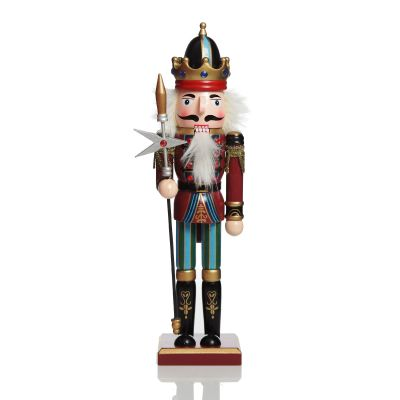 Red Jacket Nutcracker with Staff Christmas Ornament - Large