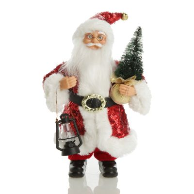 Red, Silver Gold Santa Ornament Collection