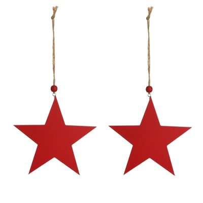 Red Wooden Hanging Star Christmas Decoration - Set of 2