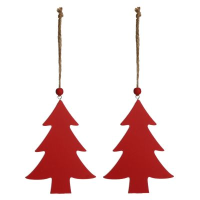 Red Wooden Hanging Tree Christmas Decoration - Set of 2
