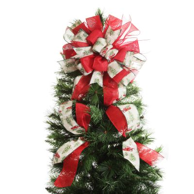 Red Truck Deluxe Tree Topper Bow with Streamers