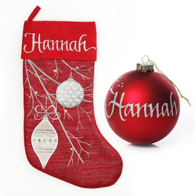 Red Bauble Stocking and Bauble Pack