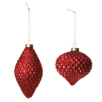 Antique Red Teardrop and Finial Glass Baubles