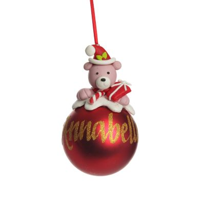 Personalised Red Teddy Christmas Character Bauble