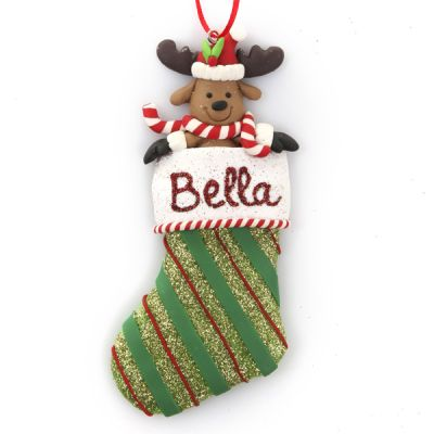 Personalised Reindeer in Glitter Stocking Hanging Decoration