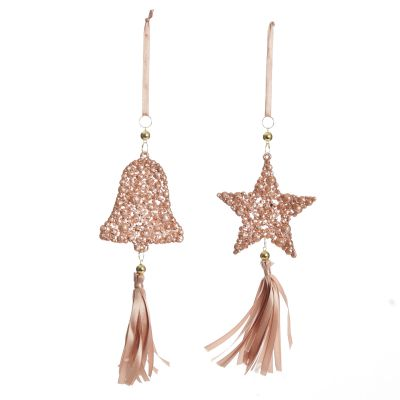 Rose Gold Beaded Star and Bell Tree Decorations - Set of 2