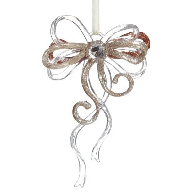 Rose Gold Glitter and Clear Acrylic Bow Tree Decoration