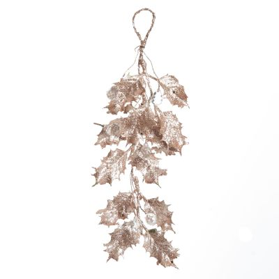 Rose Gold Glitter Holly Leaf and Crystals Tree Decoration