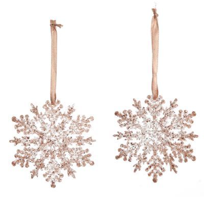 Rose Gold Glittter Snowflake Tree Decorations - Set of 2