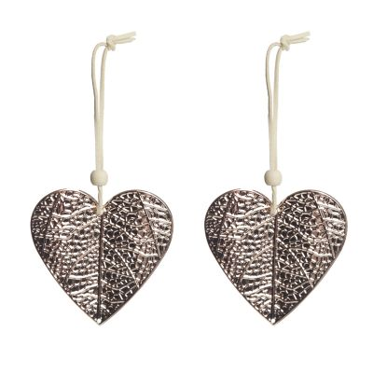 Rose Gold Pressed Metal Hanging Heart Christmas Decoration - Set of 2