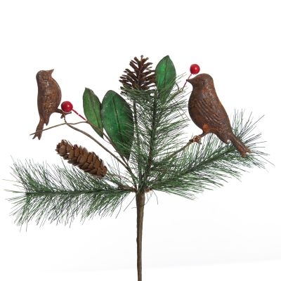 Rusted Tin Bird, Pinecone and Red Berry Pick