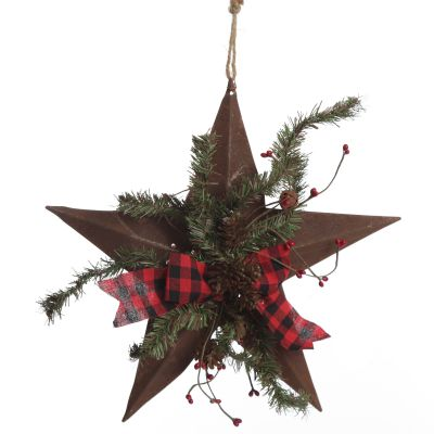 Rusted Tin Star Tree Topper with Buffalo Check Bow and Pine
