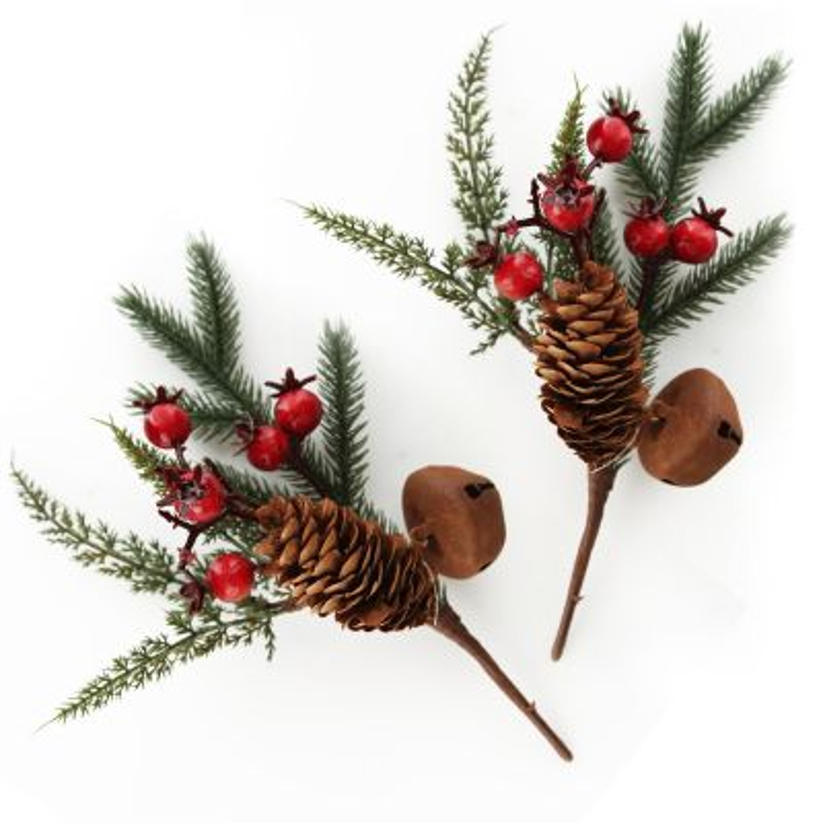 Rustic Bush Christmas Spray - Set of 2
