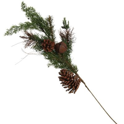 Rustic Pine and Cone Basket Christmas Spray whole product
