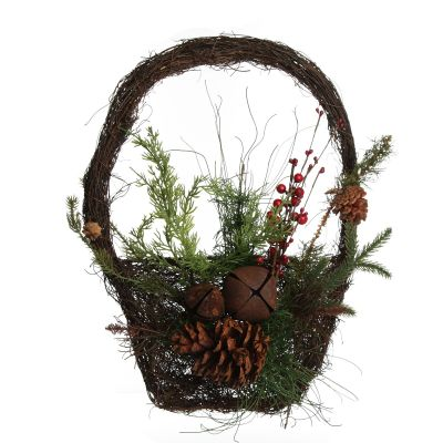 Rustic Pine and Cone Basket Christmas Wall Hanging whole product