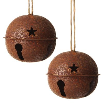 Rusted Bell Decoration 8cm - Set of 2