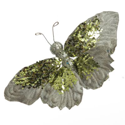 Sage Butterfly Clip with Sequins