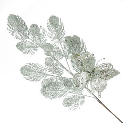 Sage Glitter Feathers with Butterfly Spray Pick