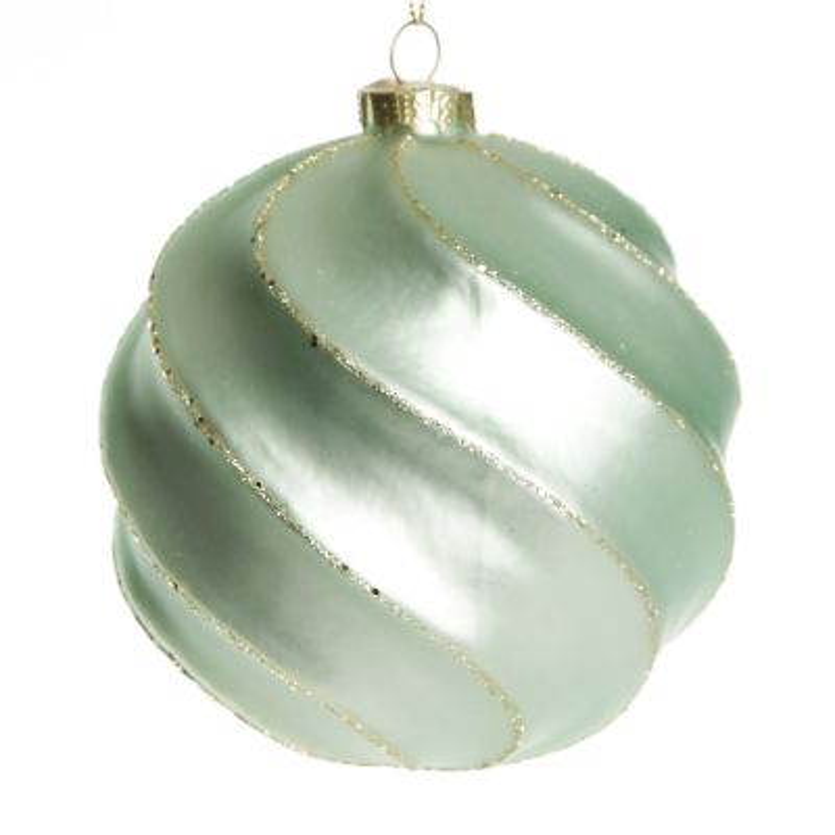 Sage Swirl Glass Christmas Bauble