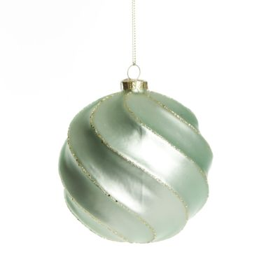 Sage Swirl Glass Christmas Bauble Whole product