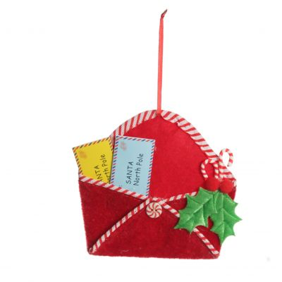 Santa Mail Hanging Decoration with Candy Cane Trim