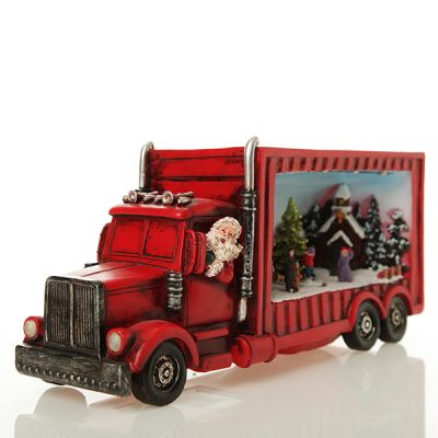 Santa's Truck with Turning Tree Lightup Ornament