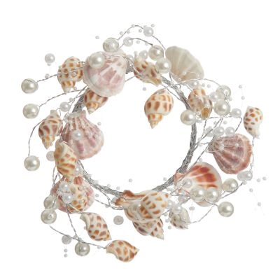 Sea Shells and Pearls Candle Ring Wreath