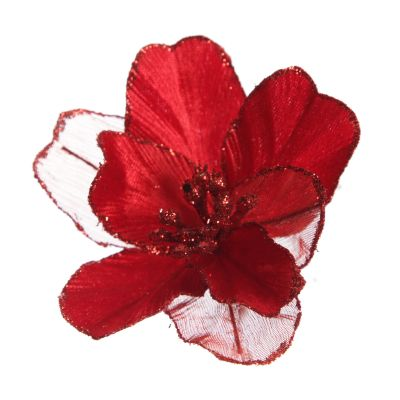 Sheer Red with Sequin Edge Magnolia Flower Clip