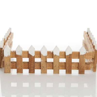 Short Snow Capped Natural Wooden Picket Fence