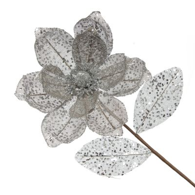 Silver and Sequin Magnolia Flower Stem