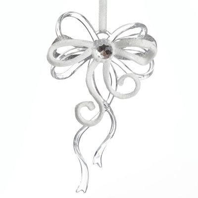 Silver and White Bow Tree Decoration