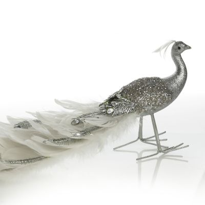 Silver and White Jewelled Feather Peacock