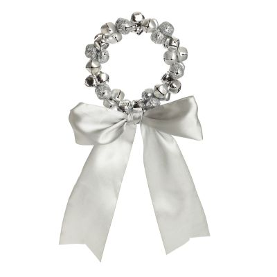 Silver Bell Wreath Decoration with Silk Ribbon Bow