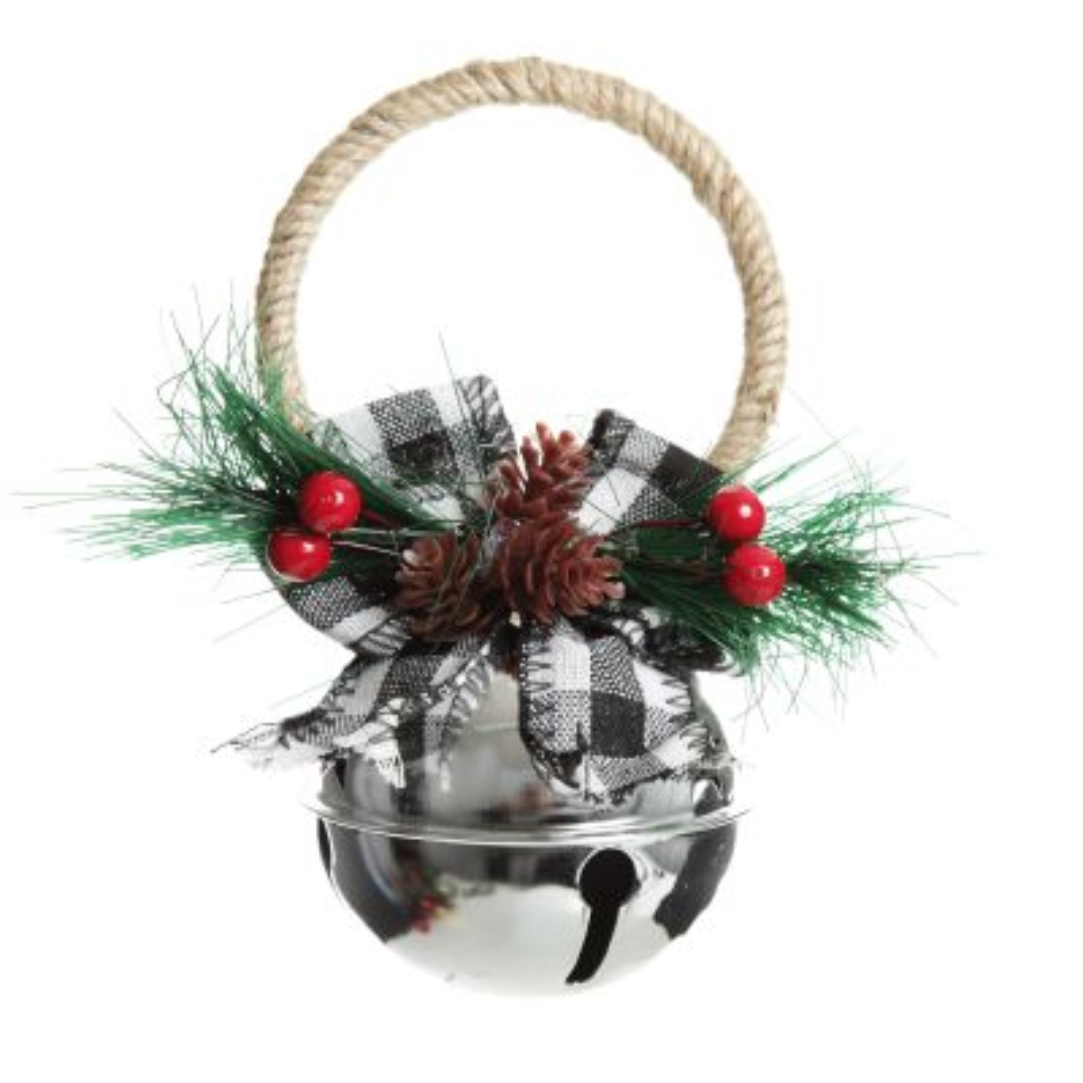 Silver Christmas Bell Door Hanger with Buffalo Check Bow