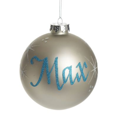 Silver Glass Personalised Christmas Bauble