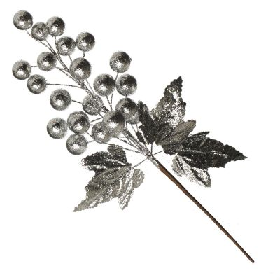 Silver Gold Glitter Ball and Leaf Picks - Set of 2